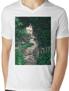 Leafy gate with a bicycle wheel decoration Mens V-Neck T-Shirt