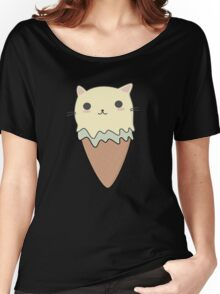 Cute Cat Ice Cream Cone T-Shirt Women's Relaxed Fit T-Shirt