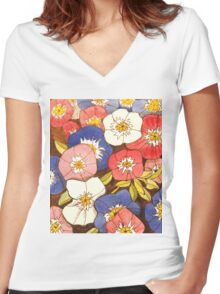Petunias Women's Fitted V-Neck T-Shirt