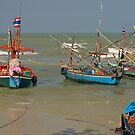 Small boats, big sea, Hua Hin, Thailand. by johnrf