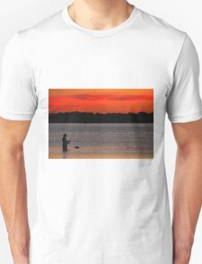 Fishing at Sunset off Beach Road Unisex T-Shirt