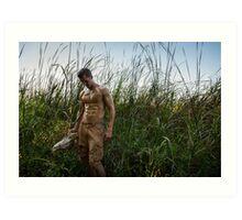 Elk Skull & Dusty - Tall Grasses Art Print