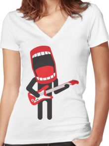 loud singing guitarist  Women's Fitted V-Neck T-Shirt