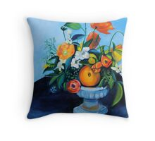 floral arrangement in blue and orange Throw Pillow