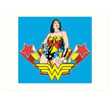 Wonder Woman on Blue Art Print