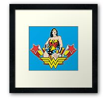 Wonder Woman on Blue Framed Print