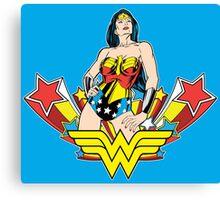 Wonder Woman on Blue Canvas Print