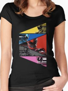 Power Rangers Movie Team (2017) Women's Fitted Scoop T-Shirt