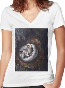 Sleeping Squirrel Women's Fitted V-Neck T-Shirt