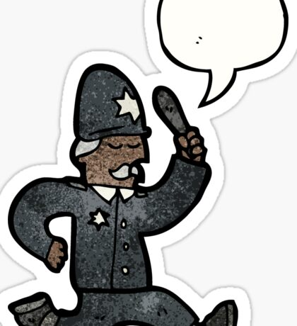 cartoon policeman speech bubble Sticker