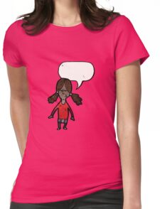 cartoon girl with speech bubble Womens Fitted T-Shirt