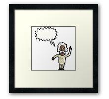 cartoon genius old man Framed Print
