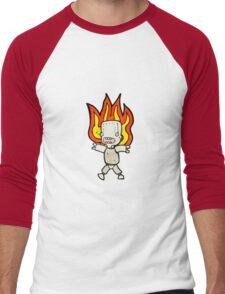 cartoon robot on fire Men's Baseball ¾ T-Shirt