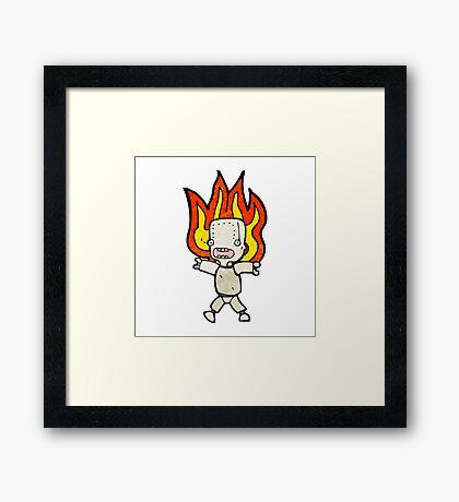 cartoon robot on fire Framed Print