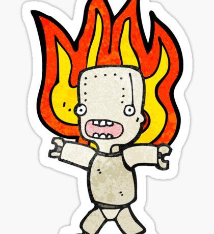 cartoon robot on fire Sticker