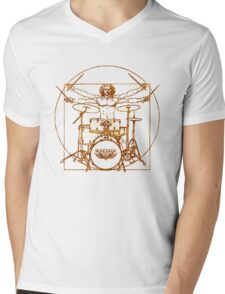 Vitruvian Drummer Man Mens V-Neck T-Shirt