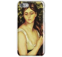 Wistful Girl Braiding Hair iPhone Case/Skin