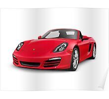 Red 2014 Porsche Boxster S Convertible luxury car art photo print Poster