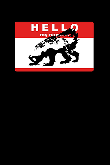 Hello My Name Is Honey Badger sticker by jezkemp