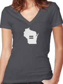 Wisconsin Equality Women's Fitted V-Neck T-Shirt