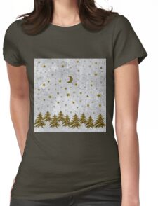 Sparkly Christmas tree, stars, moon on abstract paper Womens Fitted T-Shirt