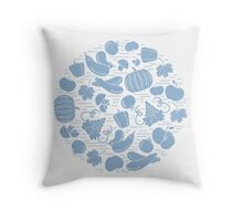 Set of autumn seasonal fruits and vegetables in circle.  Throw Pillow