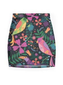 Enchanted Tiki Birds  Mini Skirt