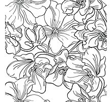 Flowers.Style sketch. Fine lines and ink drawing. Photographic Print