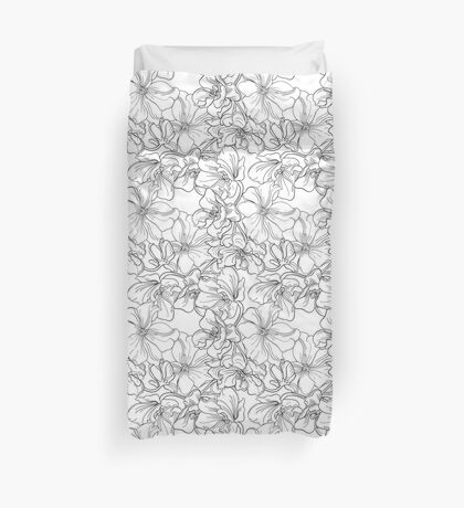 Flowers.Style sketch. Fine lines and ink drawing. Duvet Cover