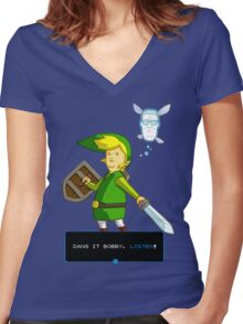 King of the Hill - Link from Zelda and Navi - Parody - Dang it Bobby, listen! Women's Fitted V-Neck T-Shirt