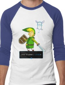 King of the Hill - Link from Zelda and Navi - Parody - Dang it Bobby, listen! Men's Baseball ¾ T-Shirt