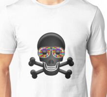 Black Skull with Psychedelic Eyes Unisex T-Shirt