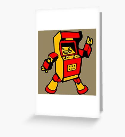 arcade robot gaming gamer funny geek  Greeting Card