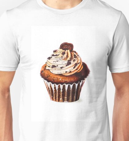 Watercolor painting - cupcakes with chocolate or coffee cream and biscuits. browns, white background. vertical orientation. Beautiful Cake made with alcohol markers. Food-illustration. Unisex T-Shirt
