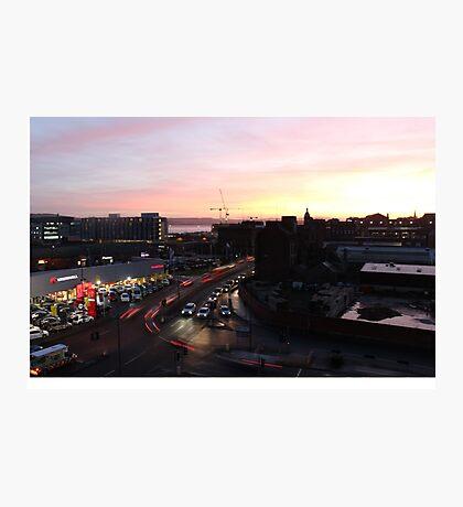 light trails at sunset Photographic Print