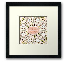 Ornamental round colorful geometric pattern in aztec style Framed Print