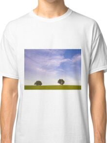 Green field blue sky and trees Classic T-Shirt