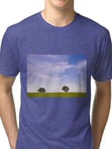 Green field blue sky and trees Tri-blend T-Shirt