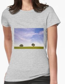 Green field blue sky and trees Womens Fitted T-Shirt