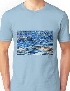 Blue fishing boats harbour Unisex T-Shirt
