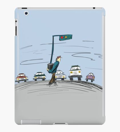 Pedestrian and It's Portable traffic light iPad Case/Skin
