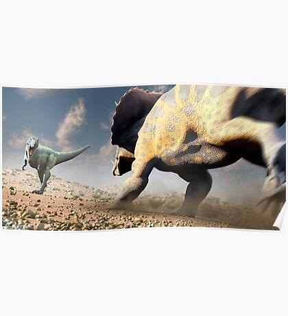 Confrontation - Tyrannosaurus Versus Triceratops Poster