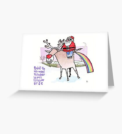 Rainbow Arse Greeting Card