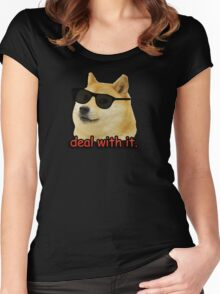 Doge deal with it dog meme Women's Fitted Scoop T-Shirt