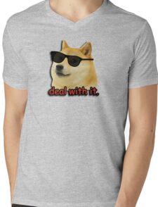 Doge deal with it dog meme Mens V-Neck T-Shirt