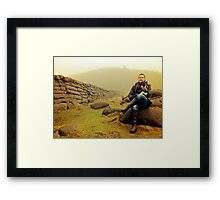 Portrait of a Man and his dog Framed Print