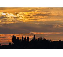 sunset on the hilly Photographic Print