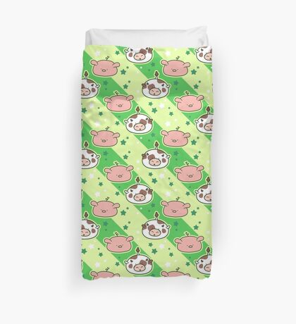 Cow and Pig Blobs Pattern Duvet Cover