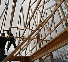 Nailing the Trusses  by KSKphotography