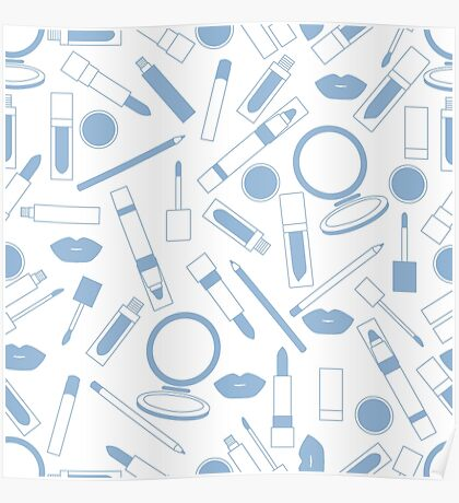 Seamless pattern of different lip make-up tools. Glamour fashion vogue style.  Poster